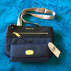 Navy Blue Crossbody bag with matching wallet